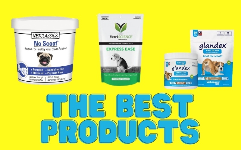 A collage of the products we recommend for anal gland health