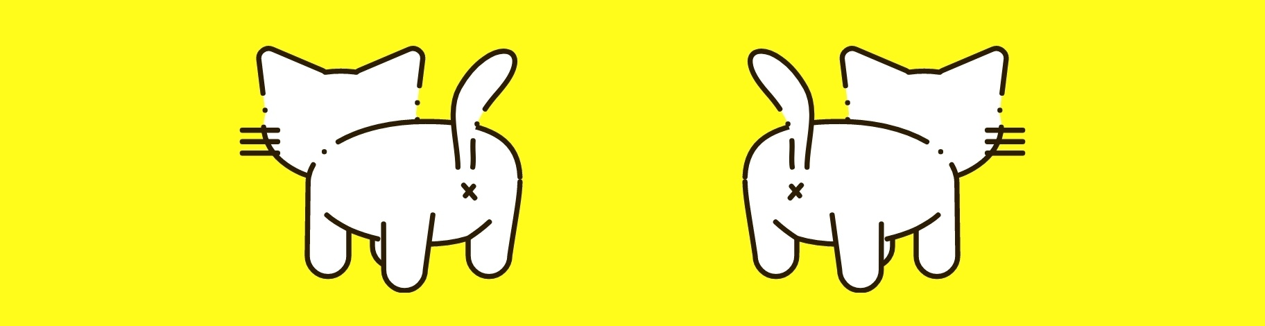Two drawn cats as seen from behind on a yellow background