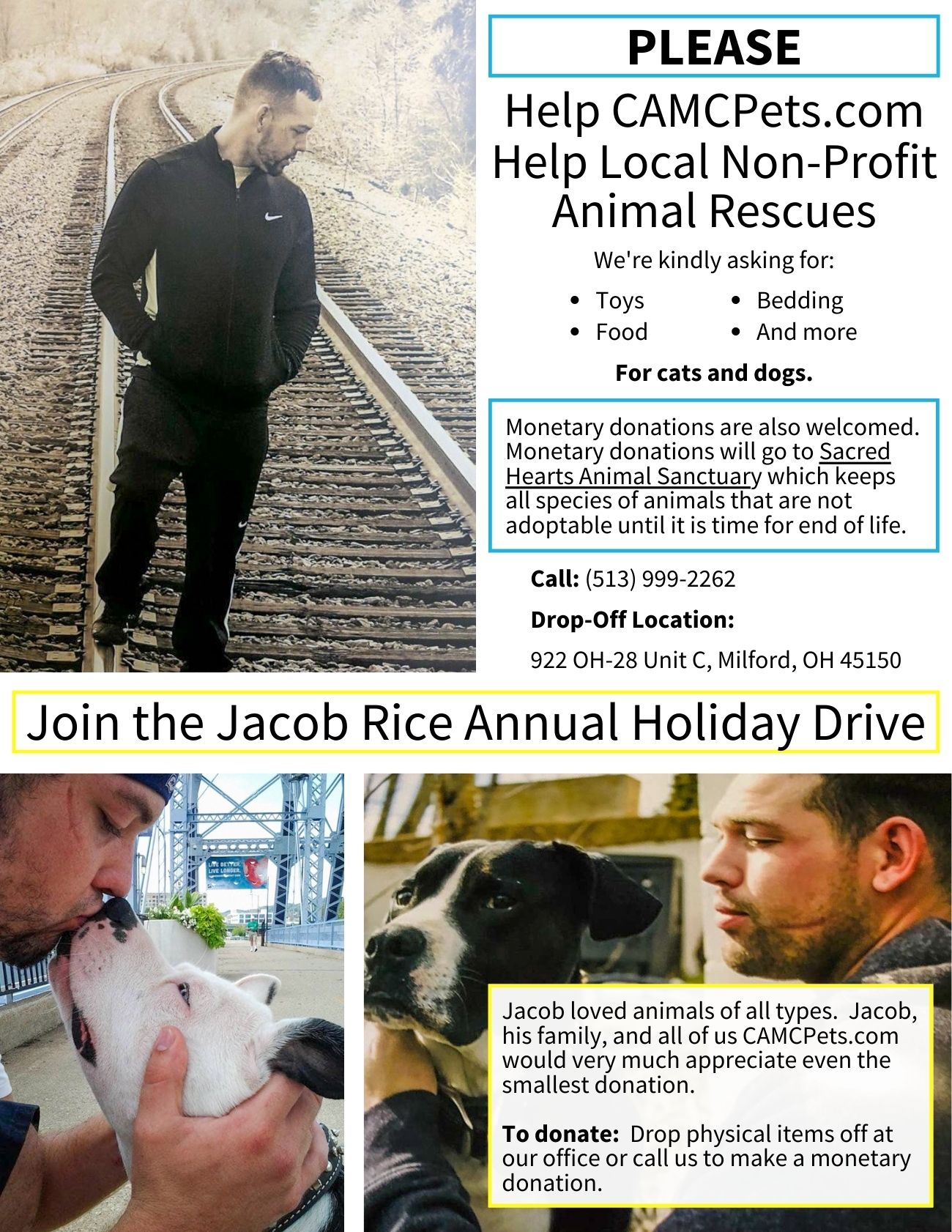 Jacob Rice Annual Holiday Drive 2020 Flyer