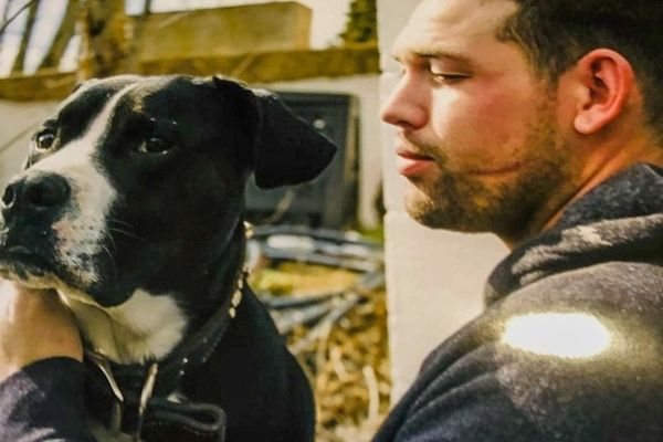 Jacob Rice with Dog