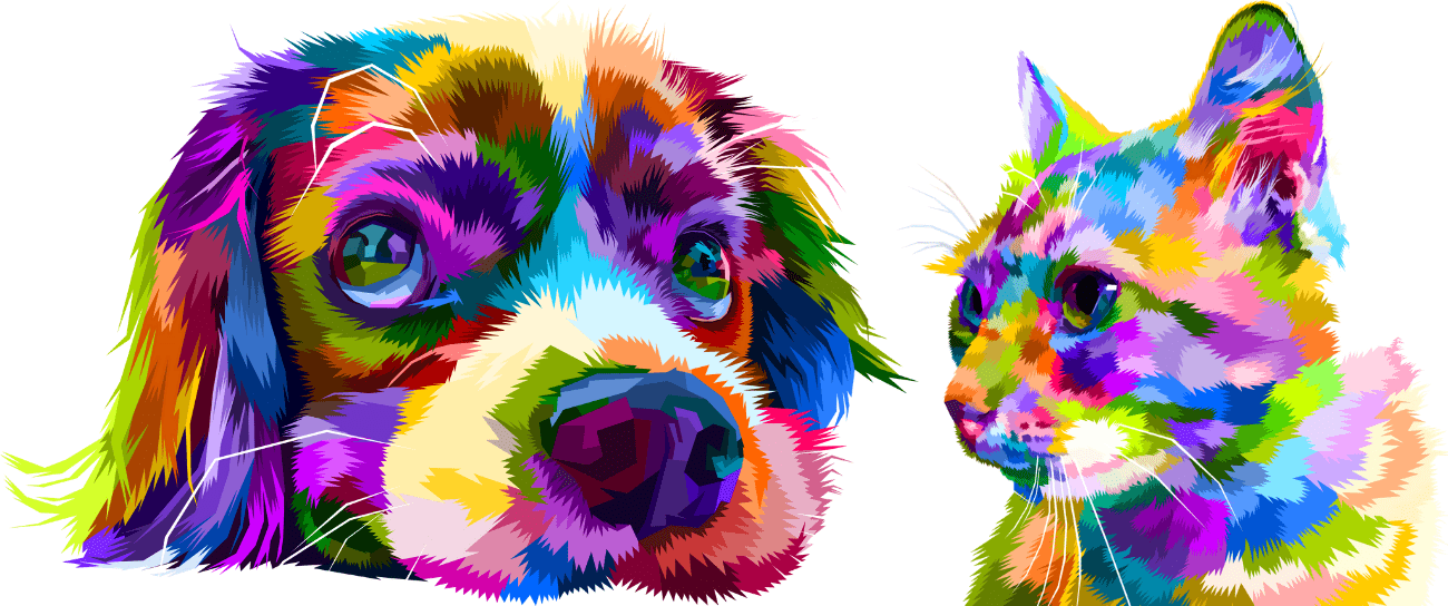 Rainbow colors dog and cat faces graphic.