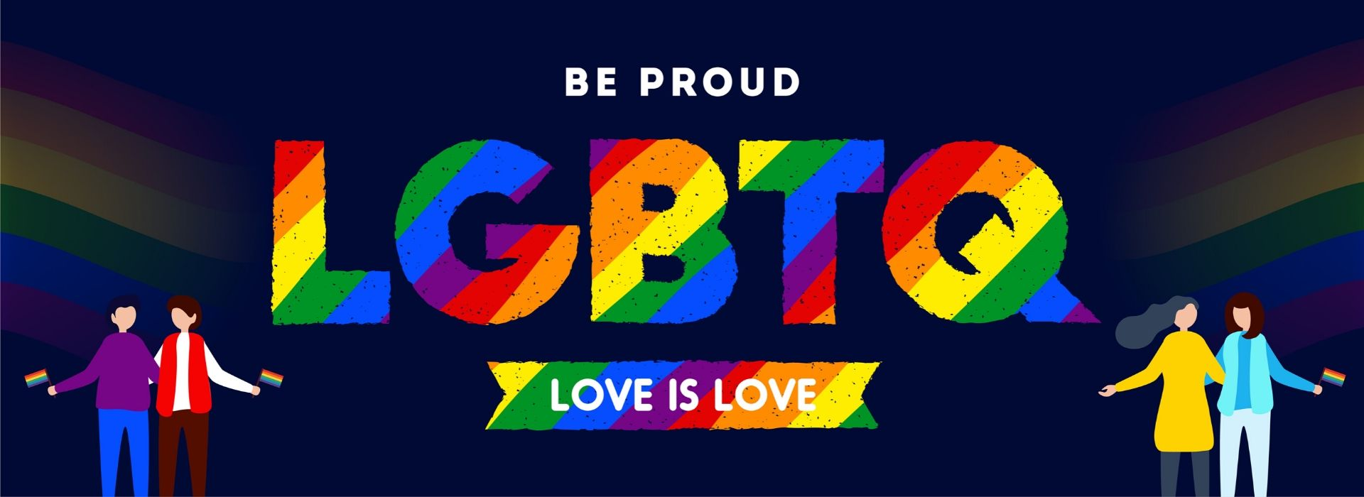 Be Proud LGBTQ Love is Love Banner Graphic